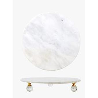 الشمال الفاخرة الرخام جولة القدم كعكة علبة الحلوى المنزلية الحديثة   صواني التخزين (أبيض-صغير)