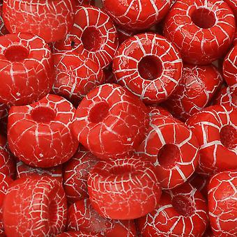 Tšekin lasi matubo, 2/0 siemenet äkkiä, 20 gramman putki, ioni punainen/valkoinen