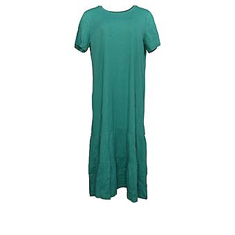 LOGO by Lori Goldstein Dress Cotton Modal Tiered Midi Dress Green A378828