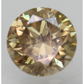 سيرت 0.68 قيراط البني الأصفر VS2 جولة رائعة تعزيز الماس الطبيعي 5.59mm