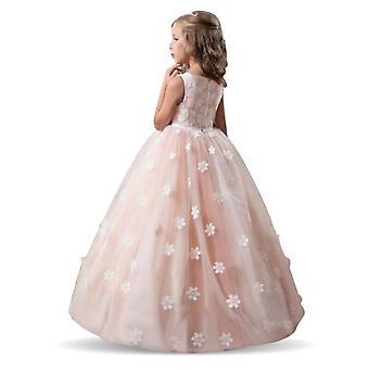 فساتين زهرة لحفل زفاف، تول الدانتيل فستان طويل
