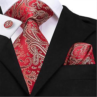 Hi-tie Seide Luxus Floral Schwarz Gold Paisley Hals Krawatte Pocket Square Manschettenknöpfe