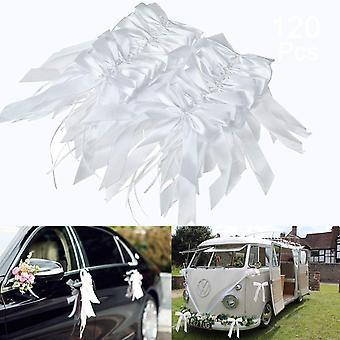 hvit bryllup bil bue, 120 stykker bryllup bil dekorasjoner