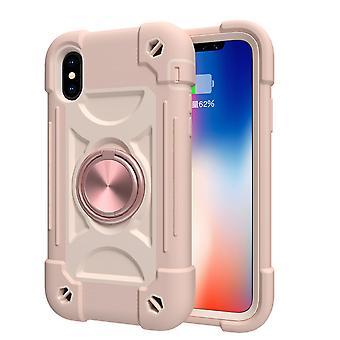 Sopii Iphone Xs Max / 6.5 Matkapuhelimen kuorelle, Kontrastiväri pyörivälle kiinnikkeen kuorelle, kaksinkertaisen renkaan kattavalle suojakanrelle (vaaleanpunainen)