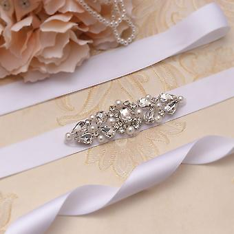 Silver Crystal Bridal Belt Pearls Bridal Dress
