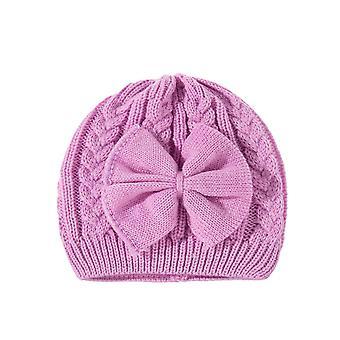 חורף חם סרוגים בייבי כובע לנערות כותנה מרופד בנות כובע חמוד Bow Beanie