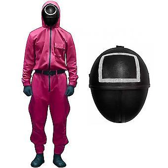 Yesfit Blæksprutte Spil Kostume Cosplay buksedragt + Blæksprutte Spil Maske Halloween Cosplay Kostume Sæt