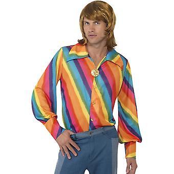 Hippie shirt 60 de flori de putere curcubeu shirt barbati