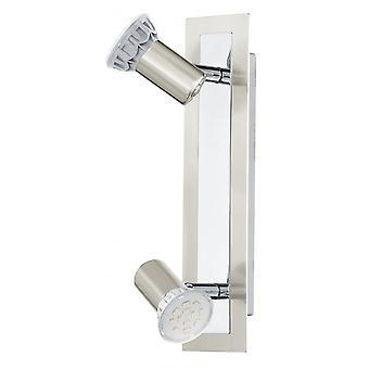EGLO Rottelo 2 ljus LED vägg Spotlight Nickel Matt/krom Finis