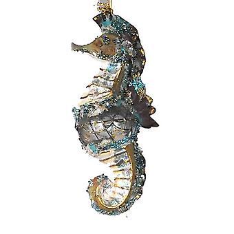 Coastal Glittered Encrusted Seahorse Holiday Ornament