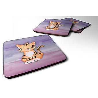Set van 4 Tiger Cub aquarel schuim onderzetters Set van 4