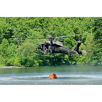 Uh-60 ブラック ホーク ヘリコプターを塗りつぶしますマルケット湖ペンシルバニア ポスター印刷 Stocktrek 画像によって中断された水バケツ
