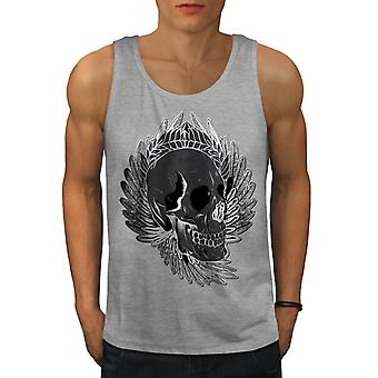 Rose Feather Dead Skull Men GreyTank Top | Wellcoda