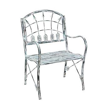 Grey Distressed Finish Arrow Theme Metal Garden Chair