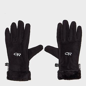 New Outdoor Research Women's Fuzzy Sensor Hand Protection Gloves Black