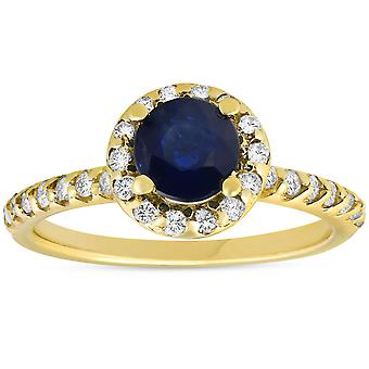1ct Blue Sapphire & Diamond Halo Engagement Ring 14K Yellow Gold