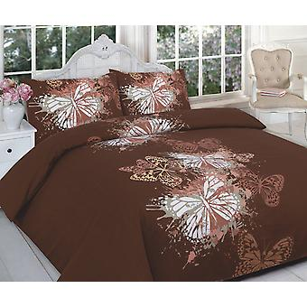 Butterfly Flowers Printed Duvet Quilt Cover Bedding Set All Sizes