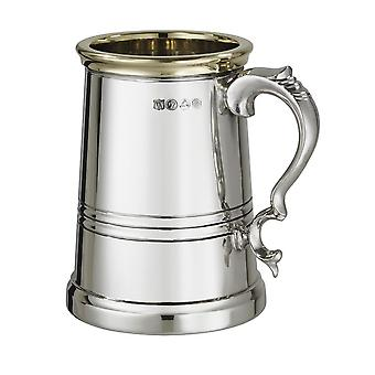 1 Pint X Range Pewter And Brass Worcester Tankard