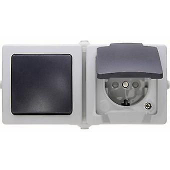 Kopp 138656001 Wet room switch product range Circuit breaker, Toggle switch, PG socket (+ lid) Nautic Grey