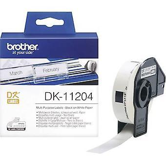 Brother DK-11204 Label Rollen 54 x 17 mm Papier weiß 400 PC Permanent DK11204 Adress-Etiketten