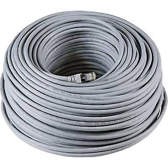 EFB Elektronik RJ45 Network cable, patch cable CAT 6A S/FTP 40.00 m Grey UL-approved, Flame-retardant, incl. detent