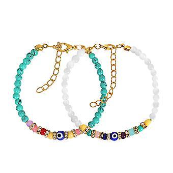 Evil Eye Protection amour Couples amulettes Set Simuled Turquoise blanc cristaux colorés Bracelets