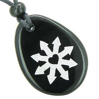 Tibetan Buddha Wheel of Fortune Spiritual Amulet Black Onyx Wish Totem Gem Stone Necklace Pendant
