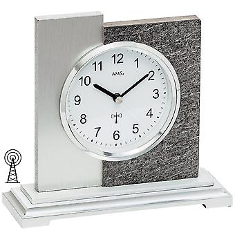 Table clock radio silver modern in natural stone finish with aluminium support