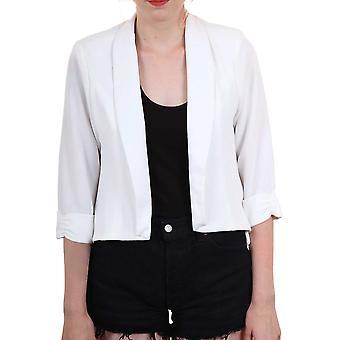 Дамы креп 3/4 поверните вверх рукав высокого в низких обратно шифона женская куртка пиджак