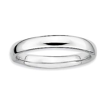 925 Sterling Silver Rhodium plated Stackable Expressions Rhodium Polished Ring Jewelry Gifts for Women - Ring Size: 5 to