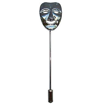 Bassin y Pin de la solapa de la máscara feliz marrón - plata