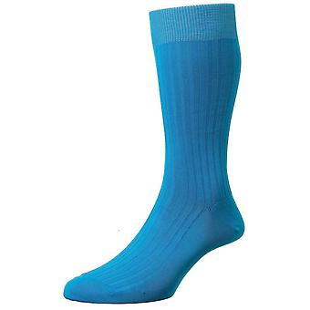 Pantherella Danvers Rib Cotton Lisle Socks - Bright Turquoise