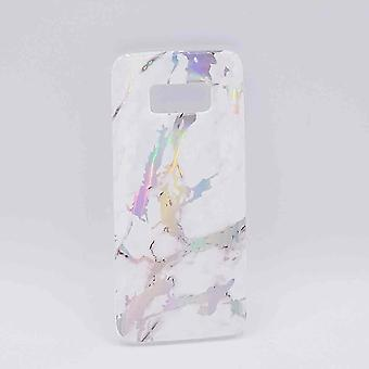 For Samsung Galaxy S8-pouch-White marble flash