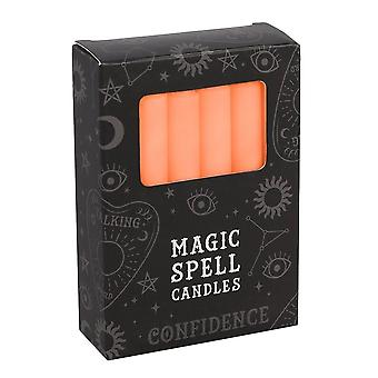 Gothic Homeware Pack Of 12 Orange Confidence Spell Candles