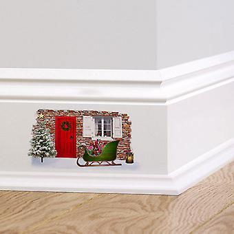 Autocollant de mur couleur Noël fée elfe porte V2