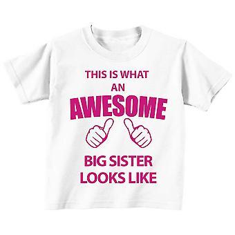 Esto es lo que un impresionante hermana mira como blanco camiseta rosa texto