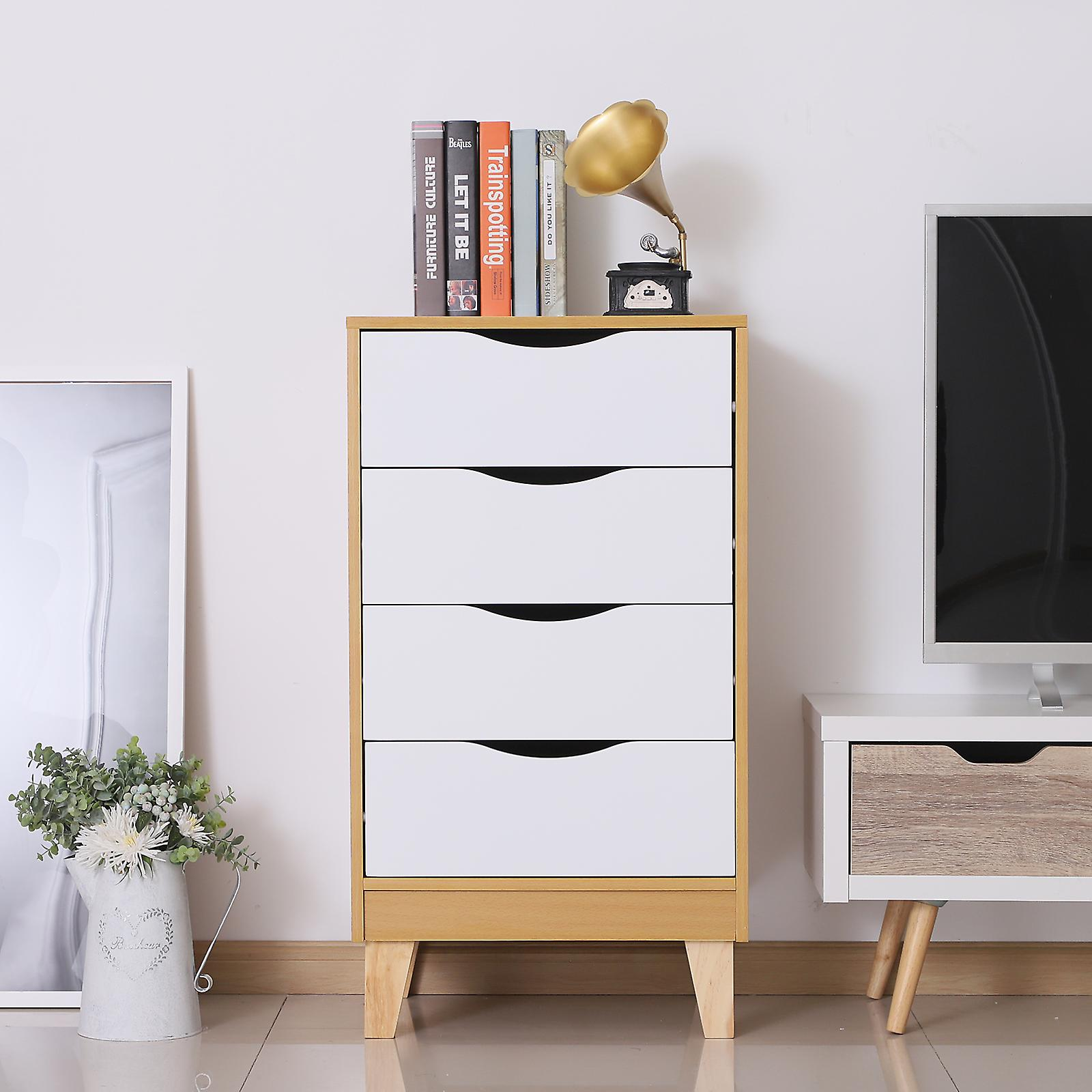 HOMCOM Nordic Style Bedside Table Night Stand Storage Chest w/ 4 Drawers Scandinavian Bedroom Furniture Elevated Feet
