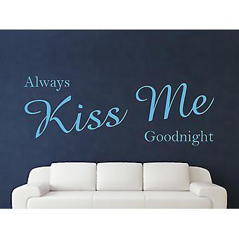 Always Kiss Me Goodnight Wall Art Sticker - Arctic Blue