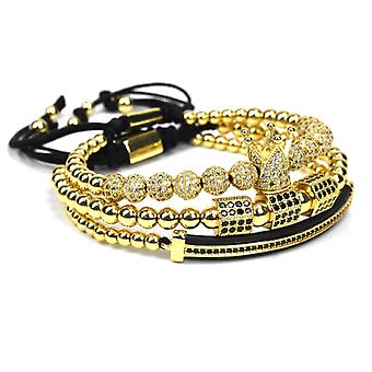 3 Bracelets-Gold colored beads and rhinestones