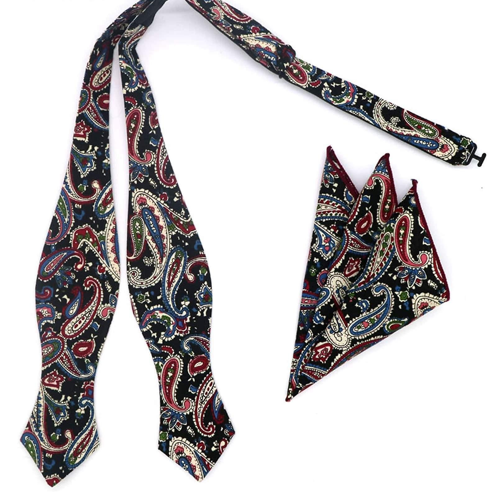Black & blue paisley butterfly bow tie & pocket square