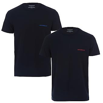 Mens Armani 2 Pack T-Shirts In Navy