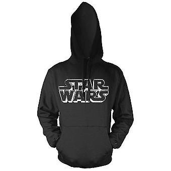 Star Wars Distressed logo Czarna bluza z kapturem