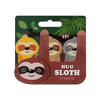 Grindstore Take It Easy Hug Sloth Erasers (Set Of 3)