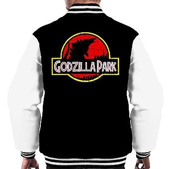 Silhouette Godzilla Park Jurassic logo miesten Varsity takki
