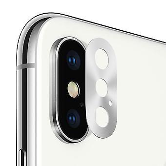 Cámara trasera lente de protección iPhone X/XS plata acanalado anillo metálico