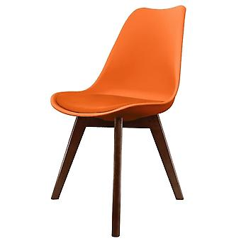 Fusion Living Eiffel Inspired Orange Plastic Dining Chair With Squared Dark Wood Legs