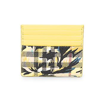 Burberry Sandon Trench Print Check and Yellow Leather Card Case