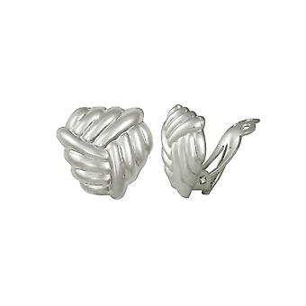 Eternal Collection Embrace Knot Sterling Silver Clip On Stud Earrings