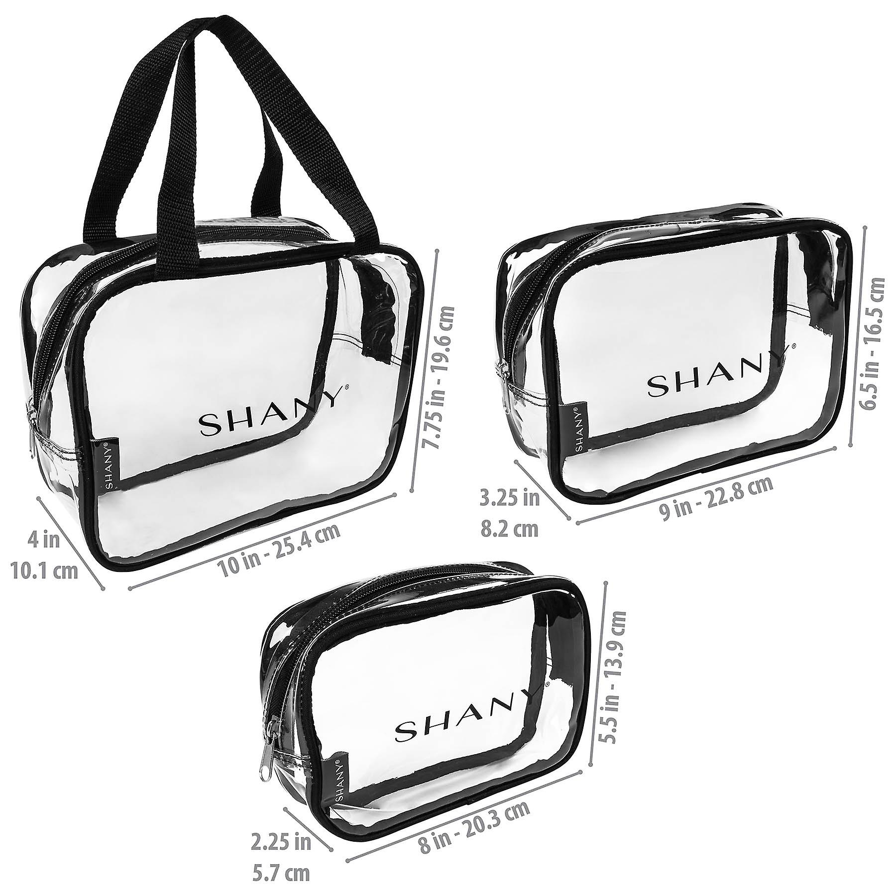 SHANY Clear PVC Toiletry and Makeup Carry-On Bag Set - Assorted Sizes Travel Cosmetic Organizers with Black Trim - 3PC Set