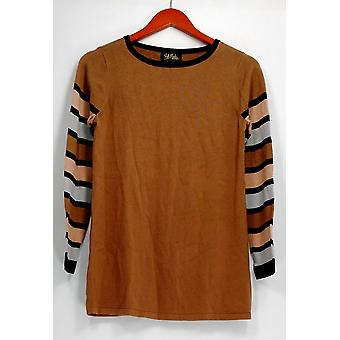 Bob Mackie Top XXS Striped Sleeve Knit Pullover Camel Beige A279239